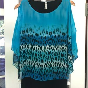 Peseption Concept Animal Print Blouse Turquoise